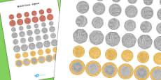 British (UK) Lifesize Coin Cut-Outs