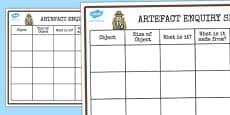 History Detective Artefact Recording Sheet