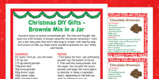 Christmas DIY Gifts Brownie Mix in a Jar