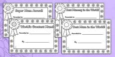 Mother's Day Certificates (Colouring)