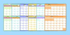 Calendario mensual de 2016