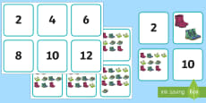 * NEW * Counting in 2s Shoe Themed Matching Cards