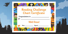Reading Challenge Chart Certificates Superhero Themed