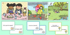 Spring Scenes and Question Cards Pack Romanian