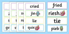 Phase 5 'ie' Flashcards Real and Nonsense Words