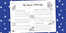 Space Write Up Activity Sheet (Australia)