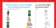 Aistear Christmas and The Post Office Picture Matching Activity Sheet