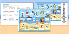Seaside Scene Labelling Activity Sheet Arabic Translation