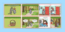 Little Red Riding Hood Story Sequencing 4 per A4 Speech Bubbles Polish Translation