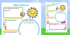 Summer Holiday Write Up Activity Sheet German