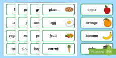 Food Topic Word Cards