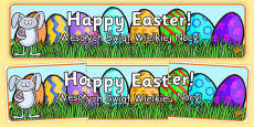 Happy Easter Banner Polish Translation