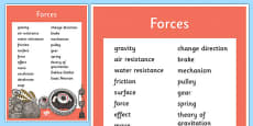 Year 5 Forces Scientific Vocabulary Poster
