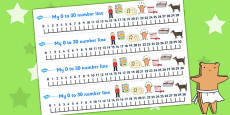 Number Lines 0-30 to Support Teaching on Biscuit Bear