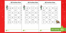 Elf Fractions Maze Differentiated Activity Sheets