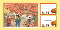 Autumn Woods Scene and Question Cards Polish