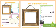 End of Summer Student Survey Activity Sheet