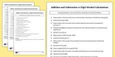 Addition and Subtraction 4 Digit Worded Calculations