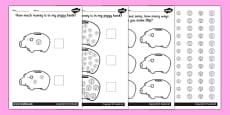 How Much Money Is In My Piggy Bank? Specific Amounts Worksheets