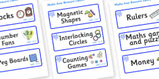Blue Themed Editable Maths Area Resource Labels