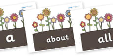 100 High Frequency Words on Garden Flowers