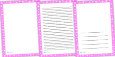 Pink and White Stars Page Borders