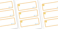 Amber Themed Editable Drawer-Peg-Name Labels (Blank)