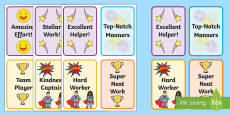 Lanyard-Sized Classrom Brag Tag Cards