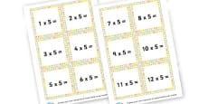 5 Times Table Question Cards