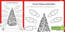 Weihnachtslichter Arbeitsblatt: Lesen und Malen