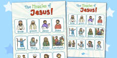 The Miracles of Jesus Bible Stories Vocabulary Poster