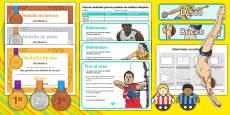 Measure Olympics Challenge Cards Spanish / Español