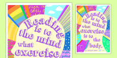 Reading is to the Mind Reading Quote Poster (Large)