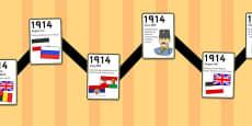 World War One - World War One Zig Zag Timeline Activity Sheet