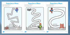 Superheroes Pencil Control Path Worksheets