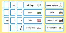 Australia - Transport Topic Word Cards