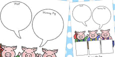 Australia - The Three Little Pigs Role on the Wall Worksheets