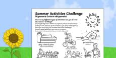 Summer Holiday Challenges Activity Sheet Polish Translation