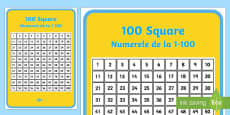 * NEW * 100 Square (Hundred Square) English/Romanian