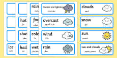 Weather Word Cards Arabic Translation