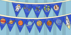 Space Themed Birthday Party Picture Bunting