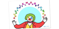 Clown Juggling Alphabet Display Poster