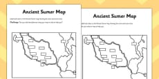 Ancient Sumer Location and Era Map Activity