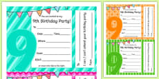 9th Birthday Party Invitations