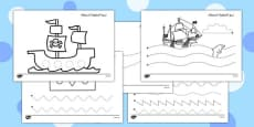 Pirate Themed Pencil Control Activity Sheets Arabic