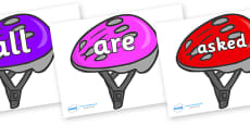 Tricky Words on Bike Helmets (Multicolour)