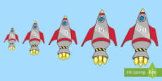 * NEW * Rocket Themed Vertical Numbers