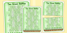 Australia - Ten Green Bottles Nursery Rhyme Poster