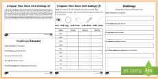 Year 2 Spelling Practice Irregular Past Tense Verb Endings (2) Go Respond Activity Sheet