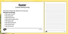 Elderly Care Easter Creative Writing Activity